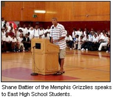 Shane Battier speaks to students in East High gym