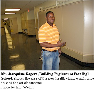 Building Engineer Jarcquiste Rogers shows the new clinic area