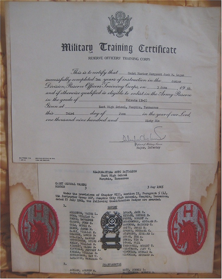 ROTC certificate & oders (larger view)